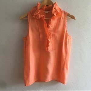 J. Crew Coral 100% Silk Pleated Neck Detail Top